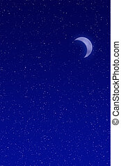 Night sky filled with stars and crescent moon