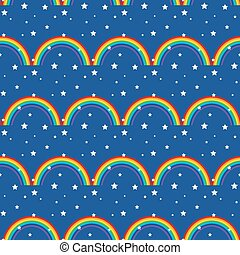Night sky kid seamless pattern.