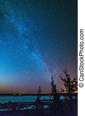 Night sky landscape background Milky way Stars