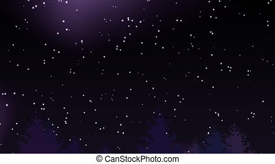 Night sky over coniferous forest with lots of twinkling stars. Christmas landscape animation, 4k resolution