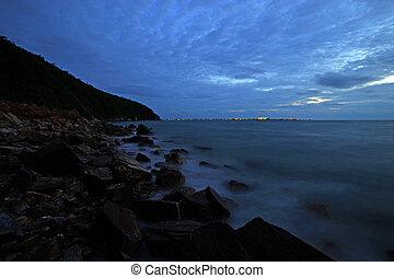 night sky over the sea