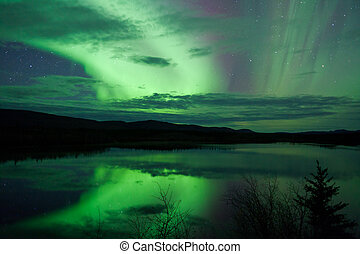 Night Sky Stars Clouds Northern Lights mirrored
