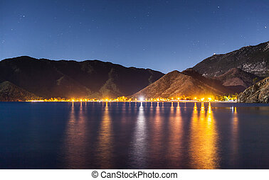 night sky under Adrasan bay. Adrasan village location, District of Kemer, Antalya Province, Turkey.