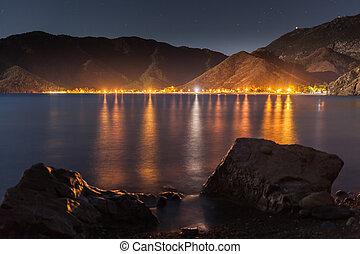 night sky under Adrasan bay. village location, District of Kemer, Antalya Province, Turkey.