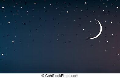 night sky with a crescent moon and