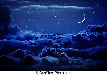 Night sky with clouds and moon