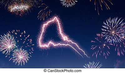 A dark night sky with a sparkling red firecracker in the shape of Eritrea composed into.(series)