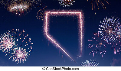 A dark night sky with a sparkling red firecracker in the shape of Nevada composed into.(series)