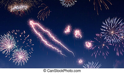 Night sky with fireworks shaped as New Caledonia.(series) - ...