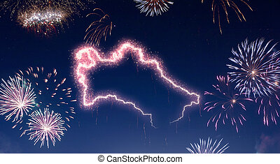 Night sky with fireworks shaped as Turkmenistan.(series)
