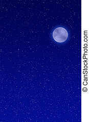 Night sky with full moon and stars