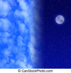 Night sky with full moon and stars transitioning to blue daytime sky