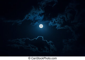 Night sky with moon and clouds.