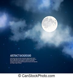 Night sky with moon and clouds vector abstract background