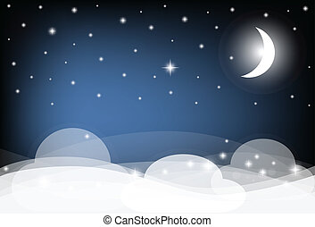 Night Sky with Moon, Clouds and shining Stars. Vector illustration.
