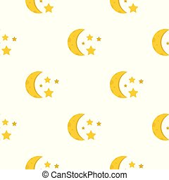 Night sky with stars and moon pattern seamless