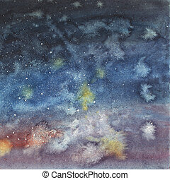 Night sky with stars hand drawn watercolor. - Night sky with...