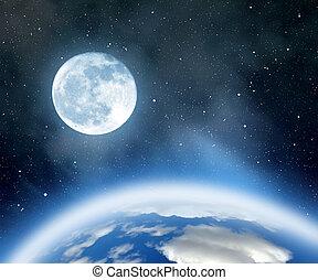 earth and moon - Night sky with stars, nebula, earth and ...