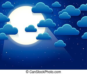 Night sky with stylized clouds theme 1