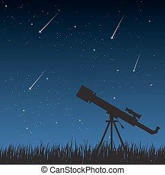Night Sky with Telescope