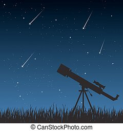 Night Sky with Telescope - Telescope standing on the grass...