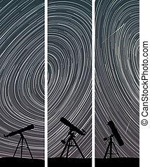 Night sky with telescopes.