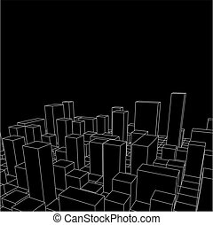 Night Skyline City. Abstract town. Industrial landscape Vector illustration