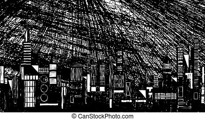 Night skyline - Illustration of a city skyline at night with...