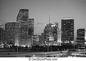 Night Skyline of Miami with Skyscrapers