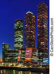 Night skyscrapers of Moscow