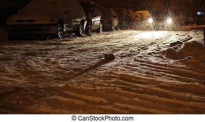 Night Snowed Street Traffic