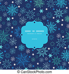 Night snowflakes frame seamless pattern background