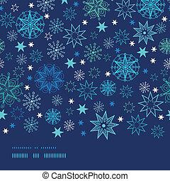 Night snowflakes horizontal border frame seamless pattern background