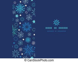 Night snowflakes horizontal frame seamless pattern background