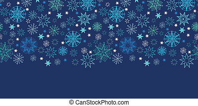 Vector night snowflakes seamless pattern background horizontal border with hand drawn elements.
