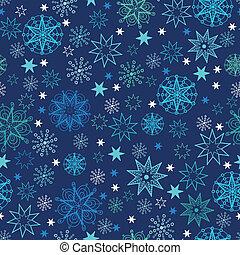 Night snowflakes seamless pattern background