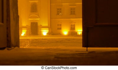 Night Snowing Outdoor Gate