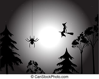 A flying witch on a background of the moon, the star sky and tops of trees