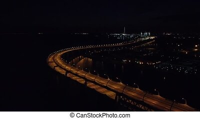 night St. Petersburg video from a drone