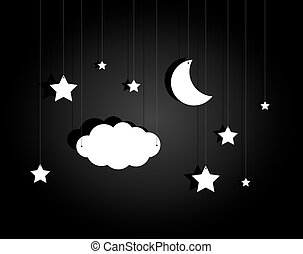Night stage with hanging sky of stars, cloud and moon