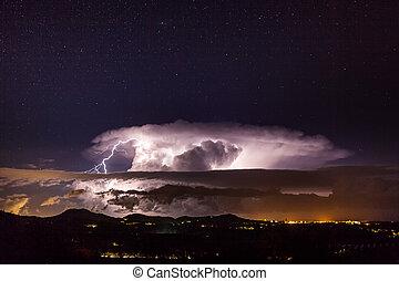 Night star landscape with lightning