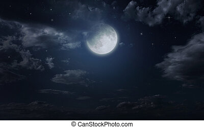 Night starry sky and moon