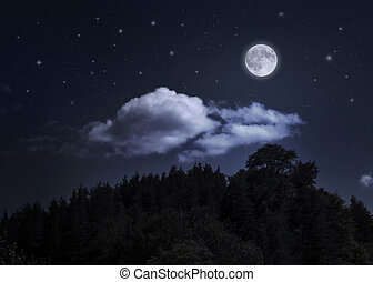 Night starry sky and moon over the mountain