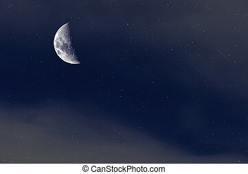 Night Starry Sky Background. Crescent Moon
