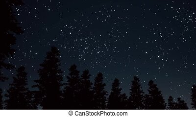 Night starry sky scene 3d realistic footage. Moving glowing...