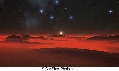 Night, Stars and Alien Planet
