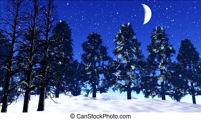 night stars - stars twinkle in the night sky,snow fall in...
