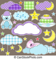 Night stickers - Set of vector elements on night theme