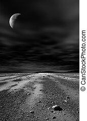 Night stony desert with moon and black sky.