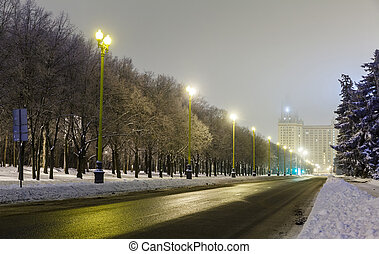 night street and University of Moscow
